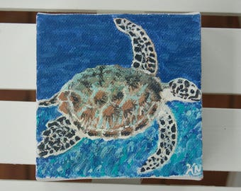 Sea turtle painting, Acrylic painting, Small square painting, aquatic creature painting, Sea turtle
