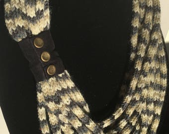 Multi-strand pure wool scarf with cuff