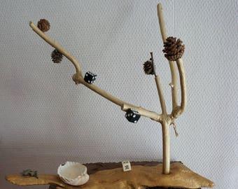 "Porte Bijoux fait à la main "" Arbre de bijoux "" décorée - Jewellery holder / display stand "" Tree of treasures "" decorated"