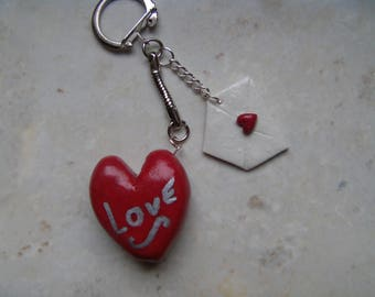 Keychain heart polymer clay red and its envelope