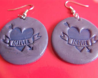 Earrings polymer clay and her heart forever