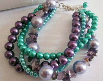 Turquoise and Amethyst Chunky Beaded Bracelet, Twisted Pearl Four 4 Strand Braided Bracelet, Boho Chic Teal Green Purple Plum
