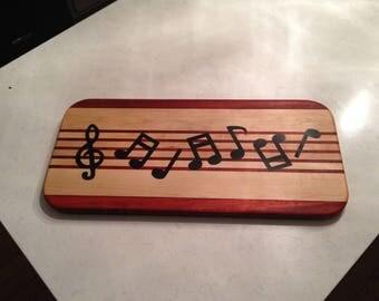 Extra Long Padauk and Maple Musical Cutting Board
