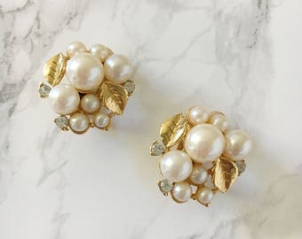 pearl and leaf cluster earrings