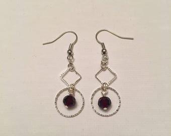 Purple Diamond and Circle Earrings