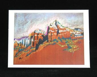 Sedona Red Rocks, Art Card from Pastel Painting by Arizona Artist, Karlene Voepel