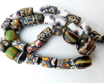 African Trade Beads, Antique Venetian Fancy andrare Millefiori beads, 34 cm