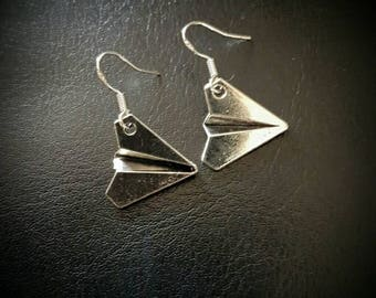 PAPER AIRPLANE/AEROPLANE charm drop hook earrings. silver/teacher gift/one direction/class clown/fun/metal/alloy