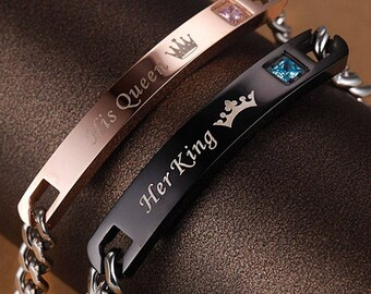 Couple's His Queen Her King His and Hers Bracelets Cute Relationship Goals Crown Charm (2pcs)