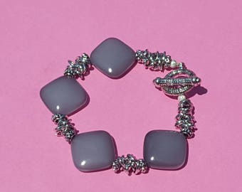 Gray and Silver Bracelet with Toggle Clasp, very elegant, square beads