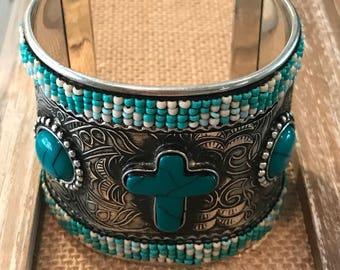 Cross turquoise  cuff
