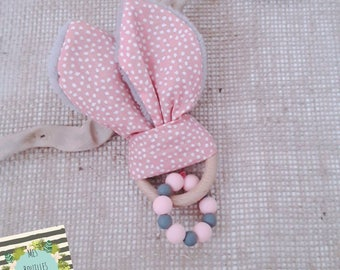 Gray and pink bunny ears - ring baby teething rattle wooden rawhide and Pearl silicone - Scandinavian pink and white polka dot fabric