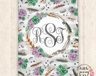 Personalized Monogram Minky Blanket - Succulent & Feather Receiving Blanket Gift w Boho Nature Print - 30x40, 50x60, 60x80
