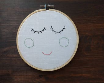 Smile face embroidery hoop