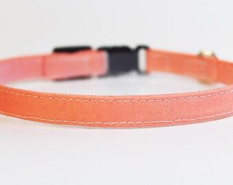 Cat Collar   Solid Salmon Pink   Handmade   Adjustable