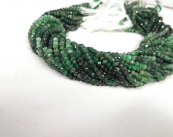 """Lot of 5 Strands AAA 100% Natural Emerald Shaded Faceted Rondelle 3.5-4MM Beads 13""""Strnds,Emerald Beads,Emerald Shaded Beads,Emerald Beads"""