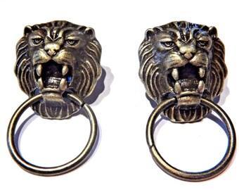 Classic Cat Head Face Ring Stud Steampunk Bronze Lion Door Knocker Earrings