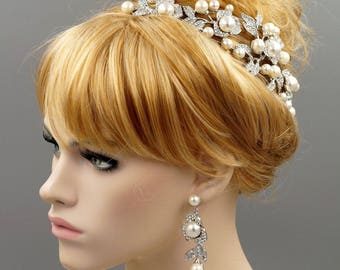 Bridal Wedding Jewelry Set Pearl Crystal Headband Headpiece Tiara Earrings