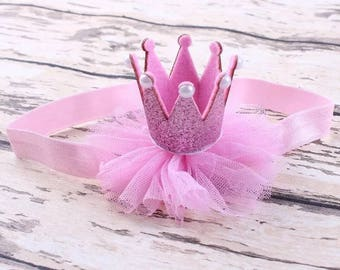 Pink baby crown headband baby or toddler