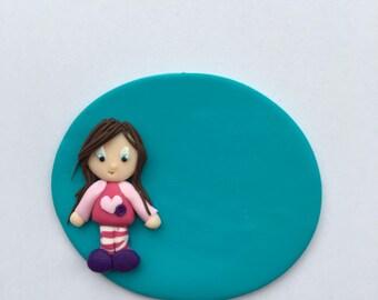 Polymer clay nurse badge girl pajamas