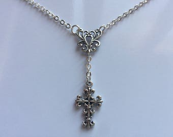 Choker Style Y Necklace With Fleur De Lis Cross