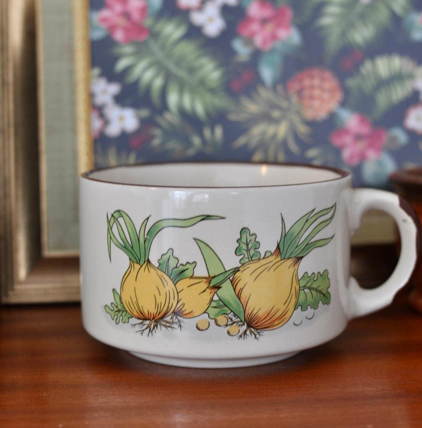Vintage Porcelain French Onion Soup Bowl, Soup Mug, One Handle Bowl ...