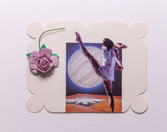dancer with planet and flower, original paper collage