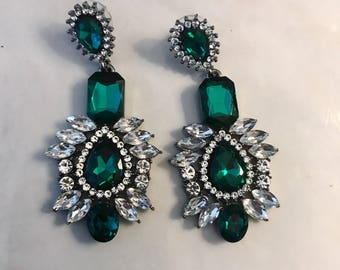 Over sized Green Statement Earrings