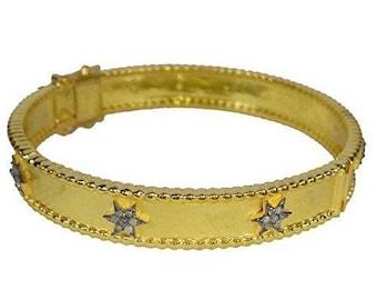Bohemian style pave diamond sterling silver star bracelet hinged bangle - PJ4101719