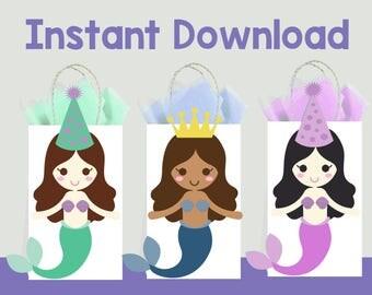 Mermaid DIY Favor Bag Template, Mermaid Party Bags Printable, Mermaid DIY Gift Bag, Mermaid Birthday Printable