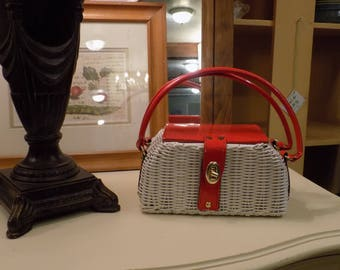 Red and White Simon Wicker Purse styled by Mister Ernest