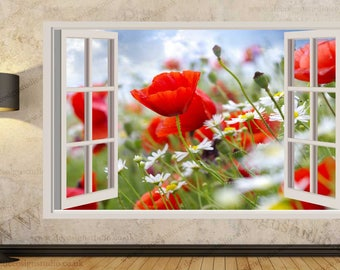 Poppy Wildflowers Meadows Wall Stickers, Wall Mural, Wall Sticker Art Decal Mural 391A