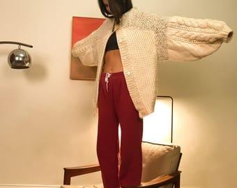 Chunky knit balloon sleeve cardigan S/M