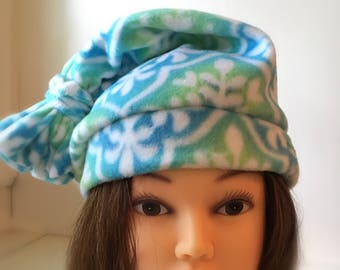 Womens polar fleece hat light blue and green
