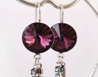 Amethyst Swarovski earrings with AB crystal dangles