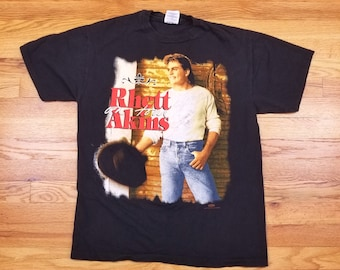 Vintage 90s Signed Rhett Akins Country Music Western Tour Concert T Shirt Size Large L