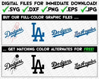 LOS ANGELES DODGERS svg logo 5 file formats (svg, dxf, png, eps, jpg) download instantly! image vector clipart files for cricut silhouette