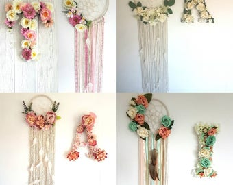 Matching dreamcatcher and letter, floral dream catcher, Floral letter, nursery letter, dream catcher, large letter, nursery, nursery decor