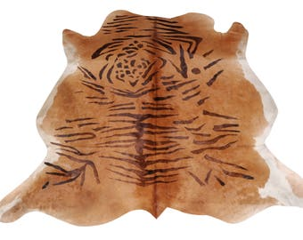 New Cowhide Tiger Print Cowhide Rug Caramel Animal Print Cow Skin Tiger Cow  Exotic