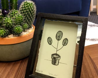 "Potted Plant. Limited edition lithograph on paper. 3"" x 5"""