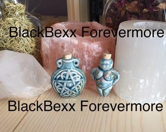 Pentacle or Goddess corked bottle or pendant