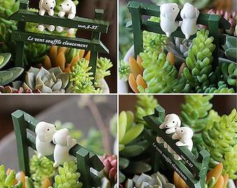 Fairy Garden Miniature Two Dog Hold Fence  Mini Garden / Plant / Dollhouse Decora Miniature Terrarium Accessories