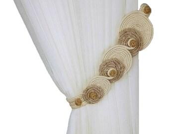 Rope tiebacks, Curtain tiebacks, Curtain decor, Cottage chic, Rustic tiebacks, Cotton cord decor, Drapery tiebacks, Rope decor,