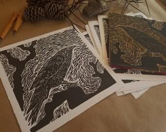 Relief Cut Print- Bird