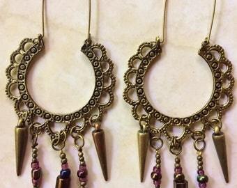 Beaded brass gypsy queen hoop earrings