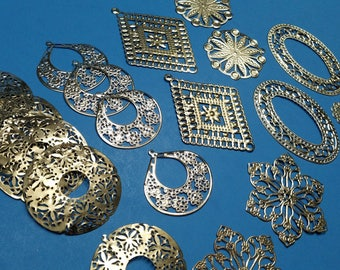 Set of 21, Filigree Findings, Detailed Metal, Lace, Big Pendants, Silver Iron, Earring Making, Jewelry Making, Crafting Supplies, #148D