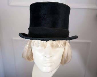 Authentic Vintage Large Black Silk Top Hat