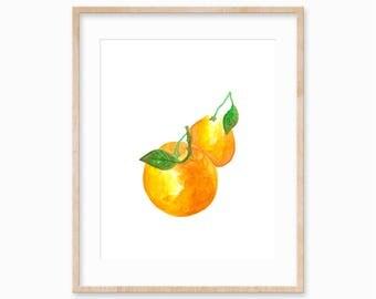 No. 20 Oranges - 8x10 Watercolor Art Print Illustration