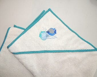 Hooded towel with embroidery fish baby