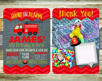 Firetruck Birthday Party Invites & Thank You Cards